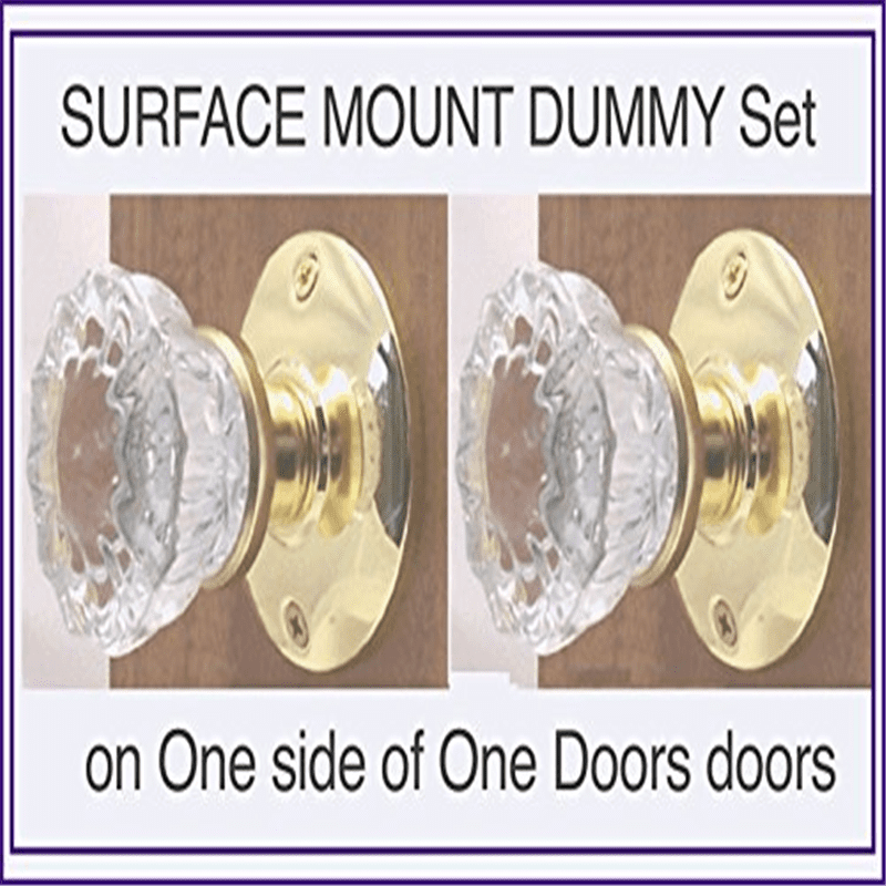 Architectural & Garden Two Fluted Crystal Glass FRENCH DOOR Dummy Knob sets for both sides of Two doors