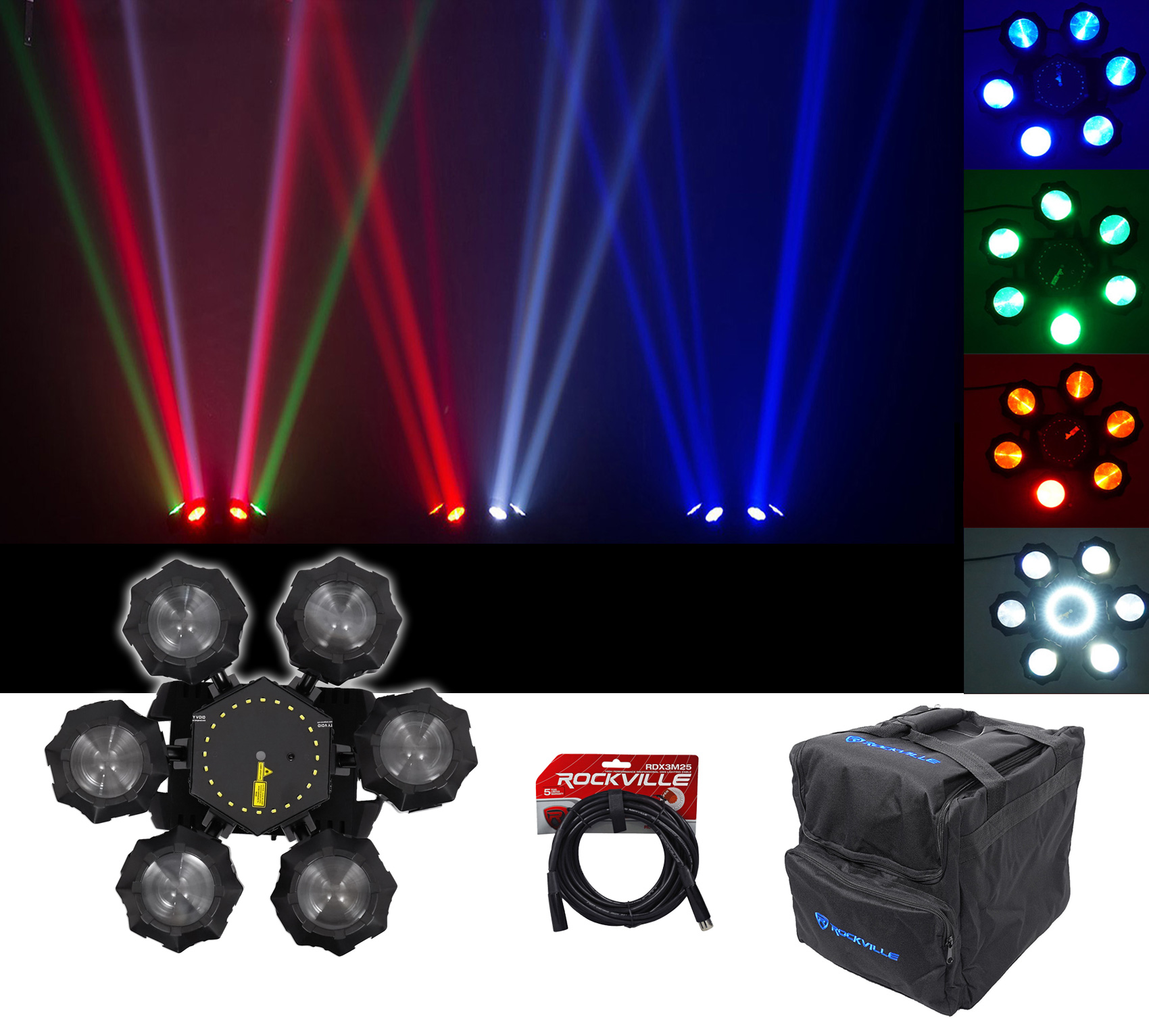 Chauvet DJ Helicopter Q6 DMX Rotating Dance Floor Effect Light+Carry Bag+Cable by CHAUVET