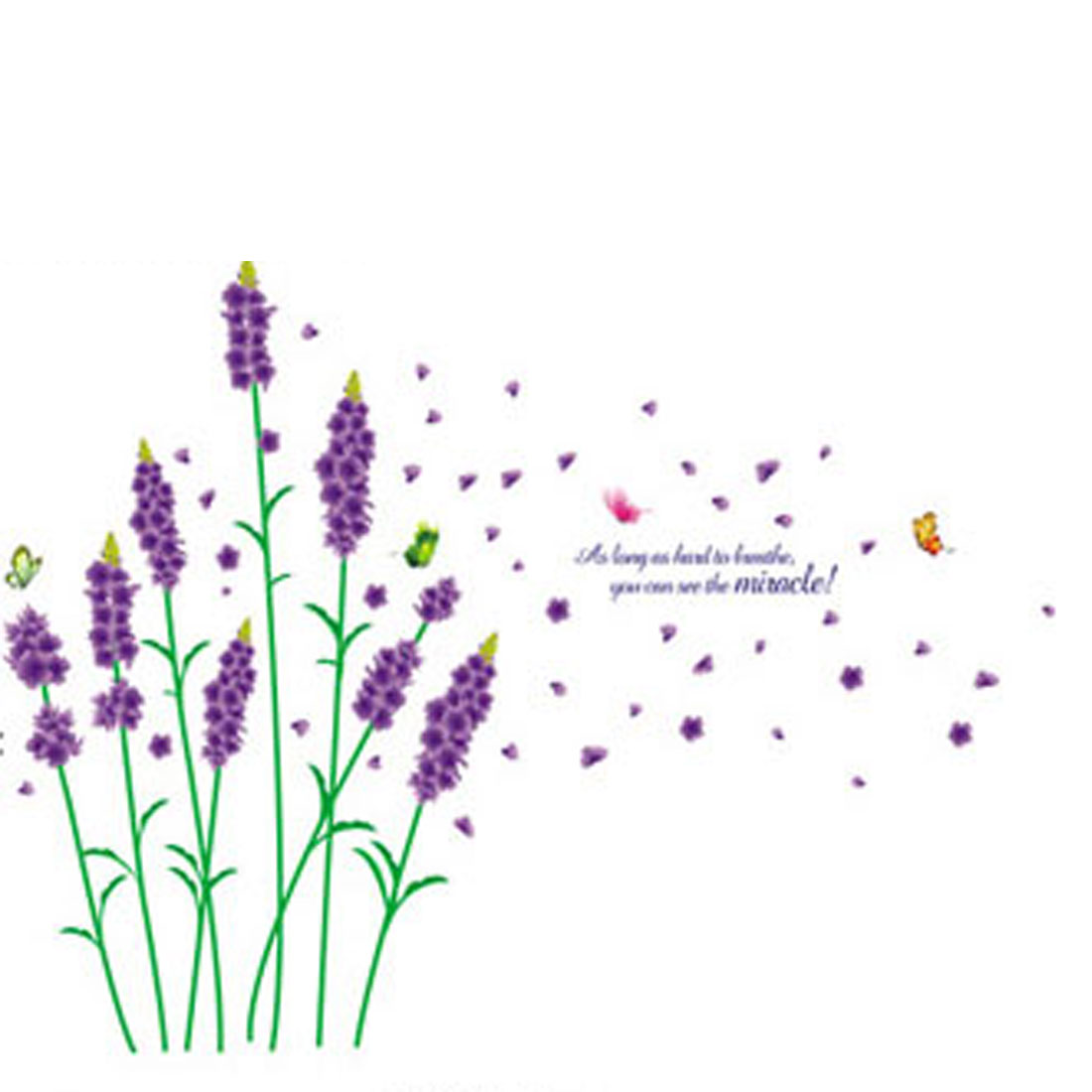 Unique Bargains Purple Lavender Flower Pattern Removable Art Wall Decor Sticker Decal For Room