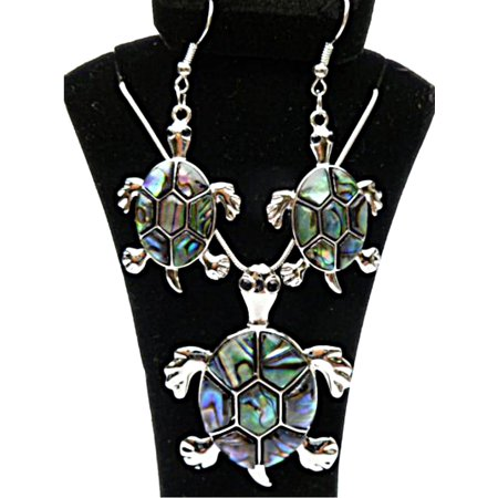 HAWAIIAN HONU TURTLE ABALONE SHELL TROPICAL LARGE STATEMENT NECKLACE & EARRINGS (Shell Necklace And Earrings)