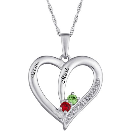 Personalized sterling silver couples birthstone heart name personalized sterling silver couples birthstone heart name pendant mozeypictures Choice Image