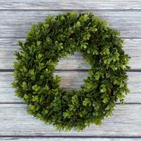 "Pure Garden 12"" Artificial UV Resistant Boxwood Wreath for the Front Door, Green"