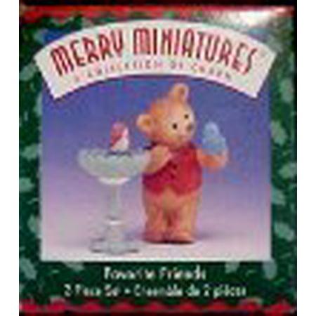 Hallmark Merry Miniatures Favorite Friends 25th Anniversary 2 Piece Set Valentine Merry Miniature