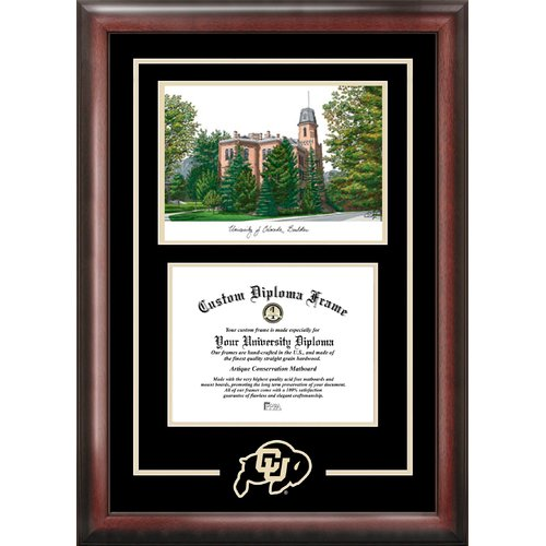 """University of Colorado, Boulder 8.5"""" x 11"""" Spirit Graduate Diploma Frame with Campus Images Lithograph"""