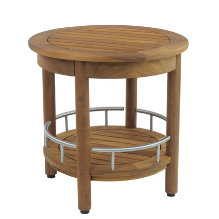 """Patented 18"""" Omega™ Round Teak & Stainless Shower Bench with Shelf"""