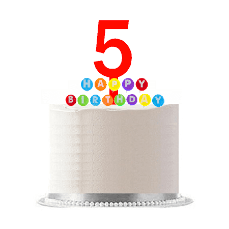 Item#005WCD - Happy 5th Birthday Party Red Cake Topper & Rainbow Candle Stand Elegant Cake Decoration Topper Kit