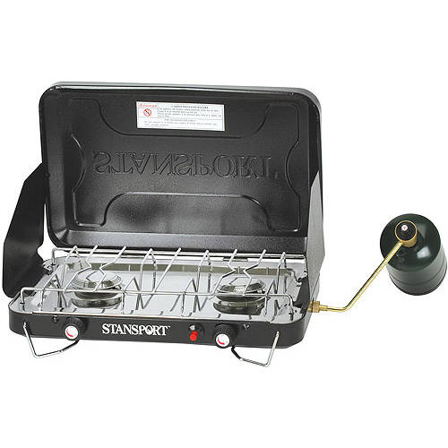 Stansport Propane Two-Burner Stove with Drip Pan, Black