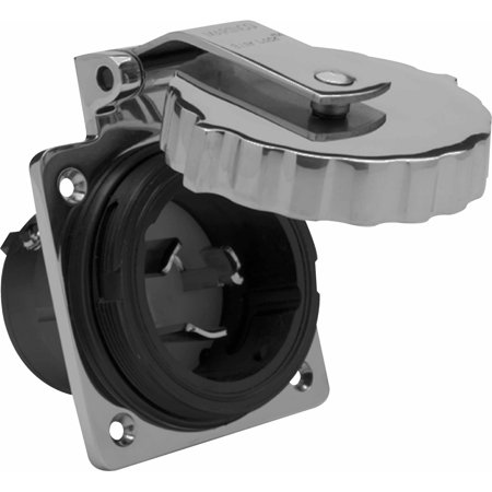 Marinco 6371EL 50A/125V Stainless Steel Power Inlet Without Rear Safety