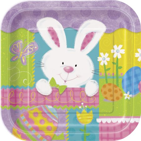 Unique Patchwork Easter Sunday Party Bunny Square Paper 9in Dinner Plates, 8 CT