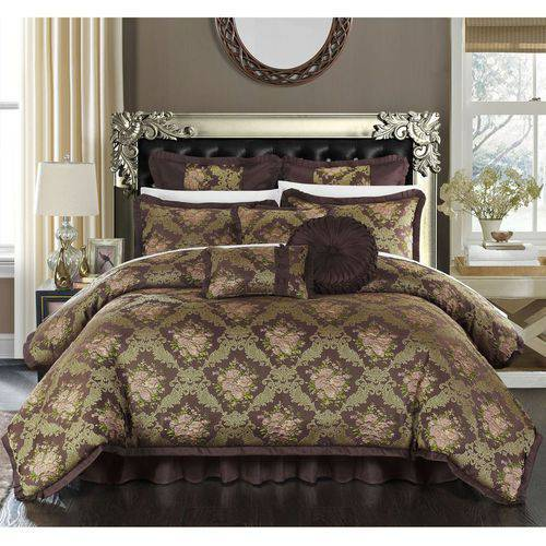 9-Piece Zanotti Decorator Upholstery Quality Jacquard Floral Fabric Complete Master Bedroom Comforter Set