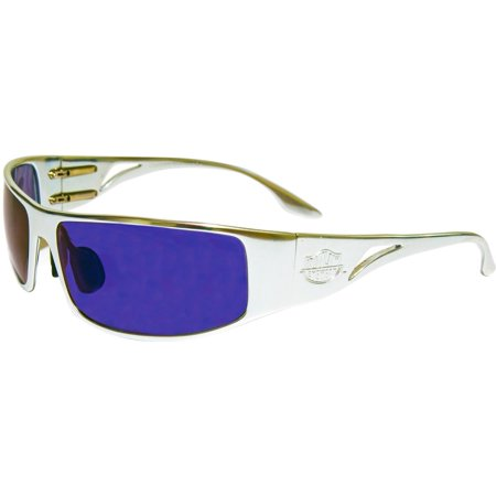 Outlaw Eyewear Fugitive ALUMINUM / BLUE CHROME Lens Motorcycle (Aluminum Eyewear)