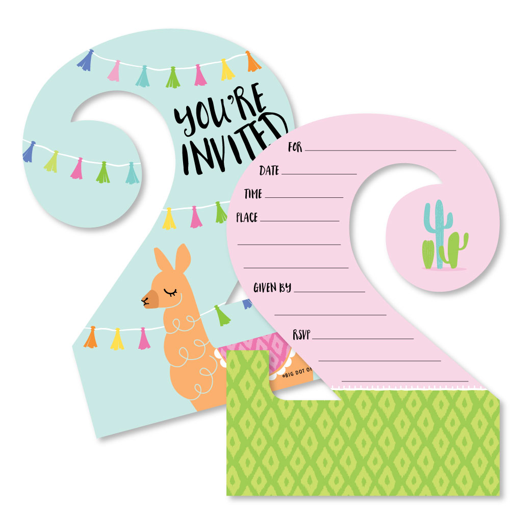 2nd Birthday Whole Llama Fun - Shaped Fill-In Invitations - Llama Fiesta Second Birthday Party Invitation Cards