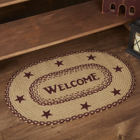 Burgundy Red Primitive Flooring Cody Burgundy Jute Welcome Jute Stenciled Text Oval Accent Rug