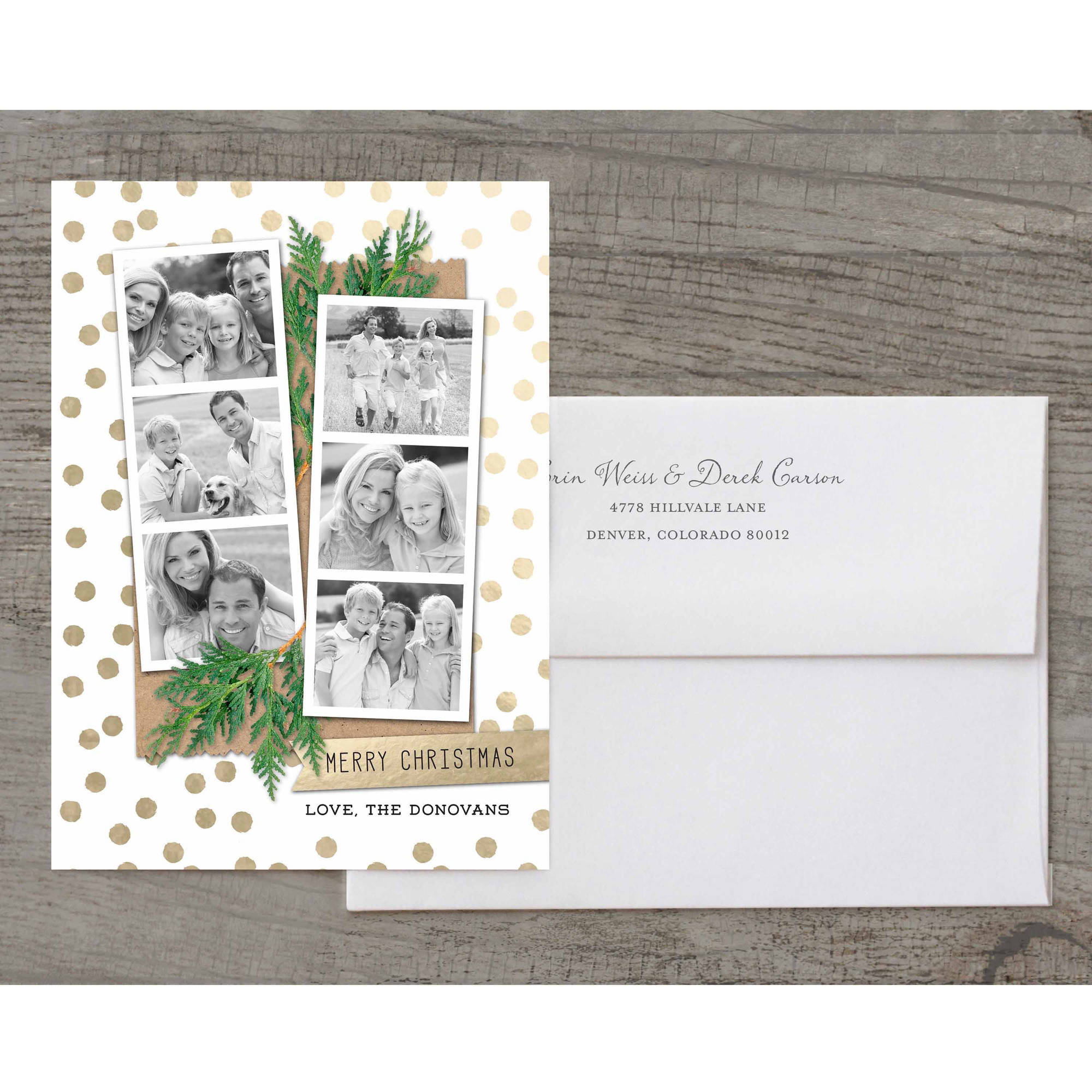 Merry Christmas Photo Strips Deluxe Holiday Card