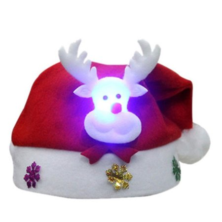 Gifts Decoration Cartoon Fabrics Santa Claus Snowman Reindeer Party Ornament Christmas Tree Cartoons Lovely Adult LED Christmas Hat - Christmas Cartoon Tree
