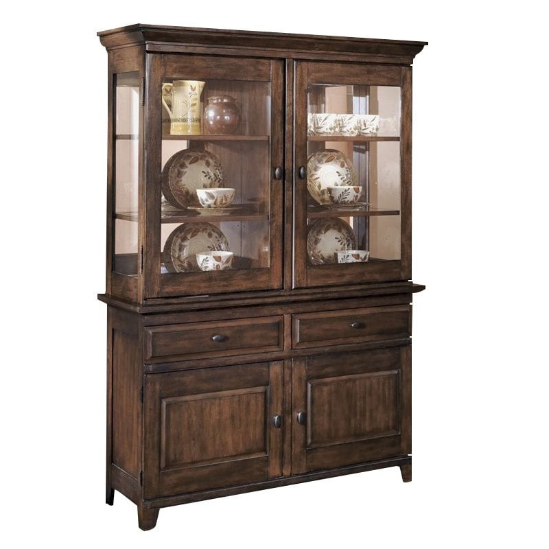 Ashley Larchmont Wood China Cabinet in Brown by Ashley Furniture