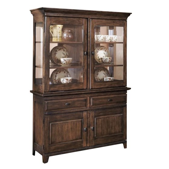 Ashley Larchmont Wood China Cabinet In Brown Walmart Com