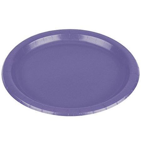 """Amscan Party Ready Disposable Round Dinner Plates Tableware, 20 Pieces, Made from Paper, New Purple, 10 1/2"""" by - image 1 of 3"""