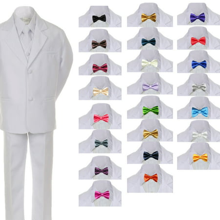 6pc Boy Kid Teen Formal Wedding Wear White Suit Tuxedo Extra Satin Bow Tie 8-20