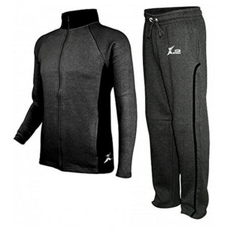 X-2 Mens Athletic Fleece Tracksuit Jogging Sweatsuit Activewear CharBlack Small