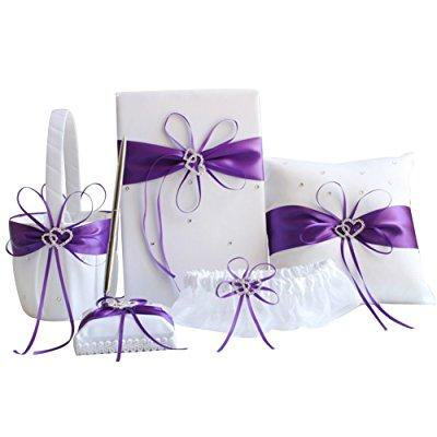 Awtlife 5pcs Sets Purple Wedding Flower Basket Guest Book Pen With Ring Pillow And Garter