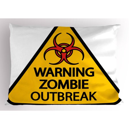 Zombie Pillow Sham Warning the Zombie Outbreak Sign Cemetery Infection Halloween Graphic, Decorative Standard Size Printed Pillowcase, 26 X 20 Inches, Earth Yellow Red Black, by Ambesonne](Halloween Cemetery Signs)