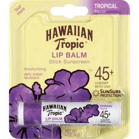 Hawaiian Tropic Sunscreen Tropical Moisturizing Broad Spectrum Sun Care Sunscreen Lip Balm Stick   Spf 45  0 14 Ounce  Pack Of 24