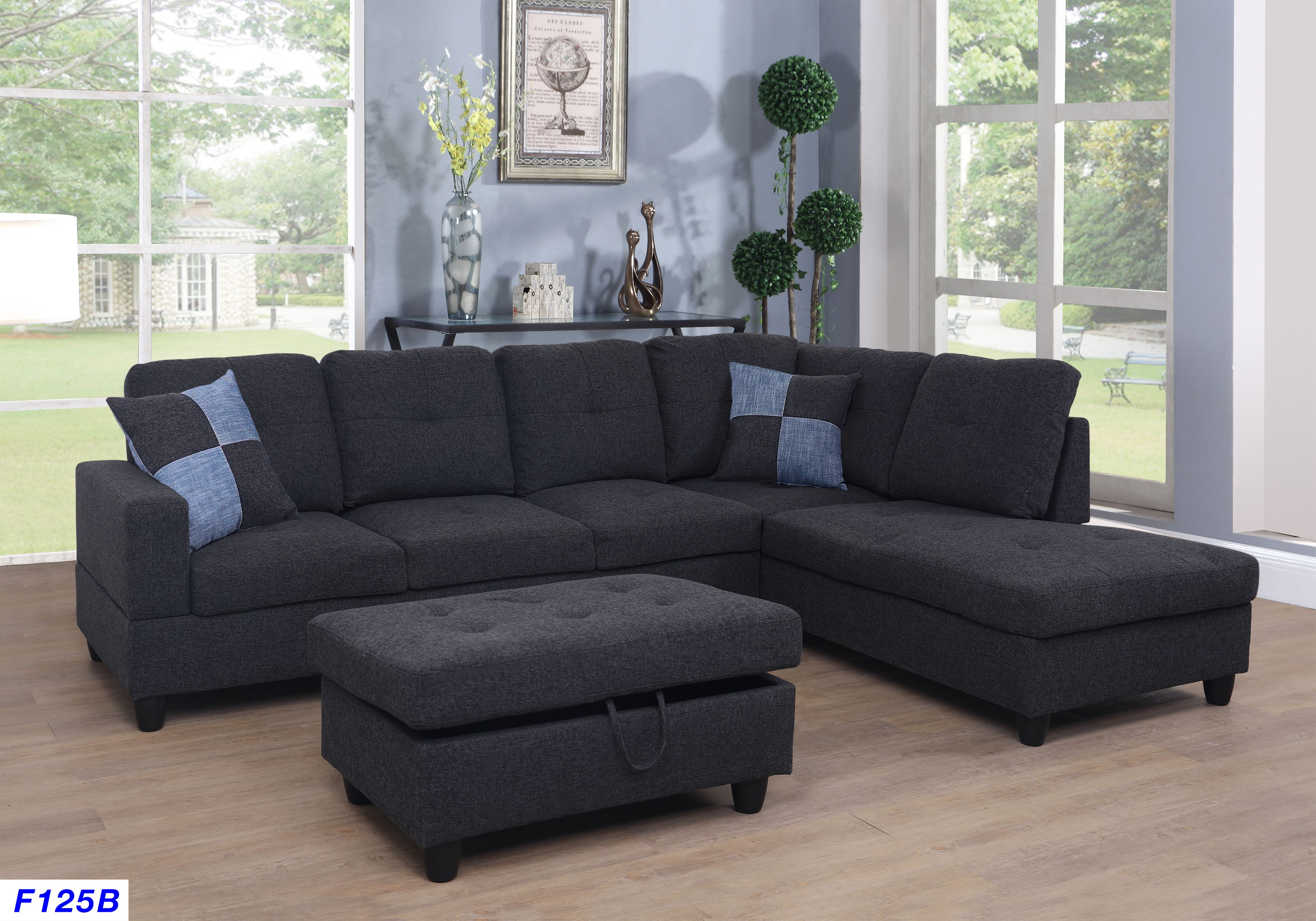 Cool Nate Right Facing Sectional Sofa With Ottoman Black Gray Caraccident5 Cool Chair Designs And Ideas Caraccident5Info