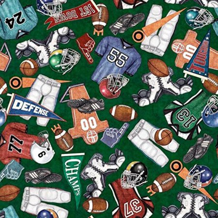 Gridiron Football Equipment Green Sports Cotton Fabric by, This fabric is sold by the yard and cut to order. By Quilting