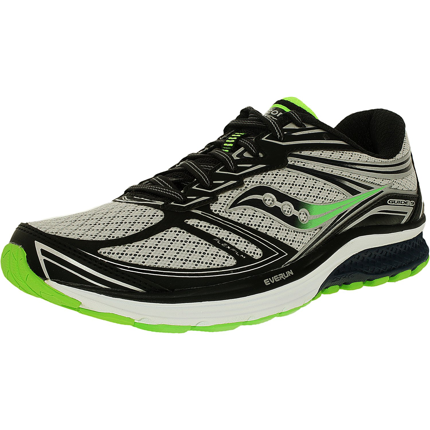 Saucony Men's Guide 9 Blue Slime Black Ankle-High Nylon Running Shoe 11W by Saucony