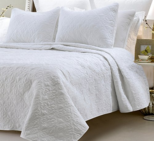 Oversized 3pc Quilted Cotton Coverlet Set- White King by BlowOut Bedding