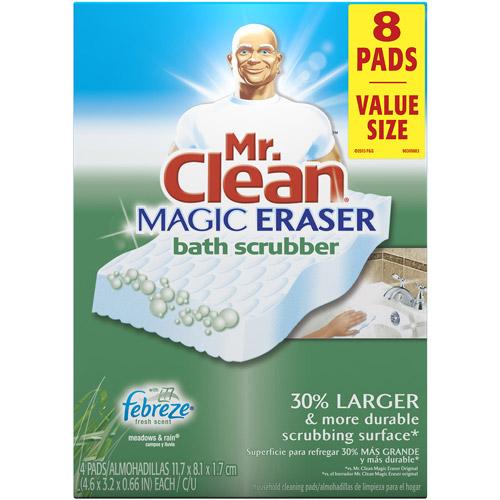 Mr. Clean Magic Eraser Meadows & Rains Scent Bath Scrubber, 8 count