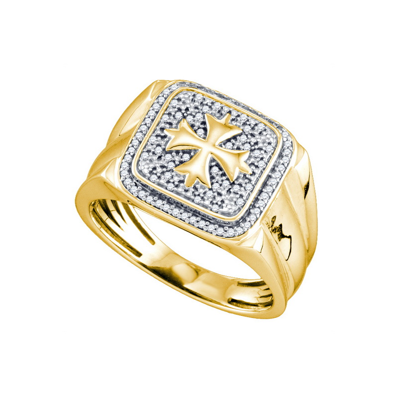 Sterling Silver Yellow 0.22ctw Fancy Shiny Diamond Micro Pave Mens Band Ring