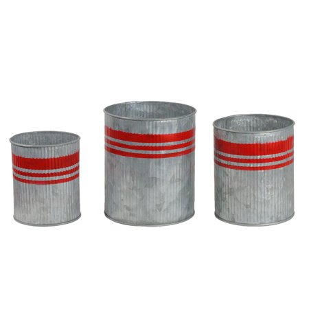 Set of 3 Gray and Red Tin with Stripes Christmas Planters 6.25