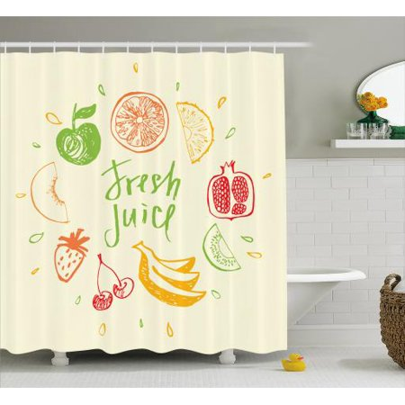 Fruit Shower Curtain, Eco Themed Colorful Sketch Food Pomegranate Peach Lime Pattern on Cream Background, Fabric Bathroom Set with Hooks, 69W X 70L Inches, Multicolor, by Ambesonne