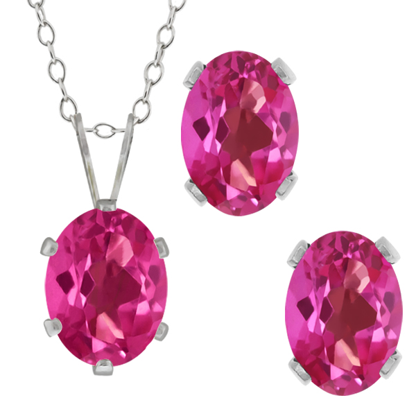 3.40 Ct Oval Pink Mystic Topaz Gemstone Sterling Silver Pendant Earrings Set