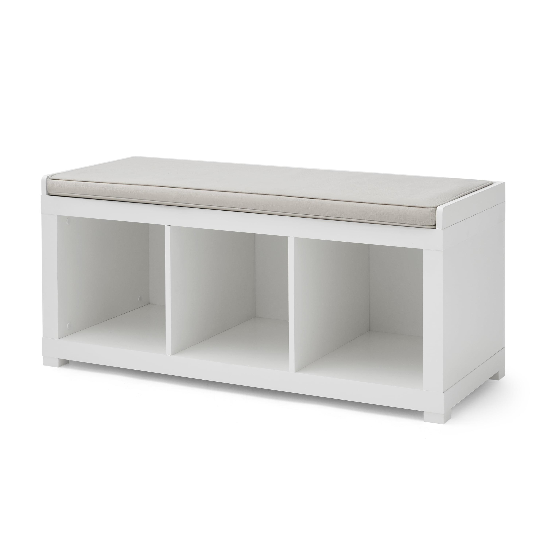 Better Homes and Gardens 3-Cube Organizer Storage Bench, White