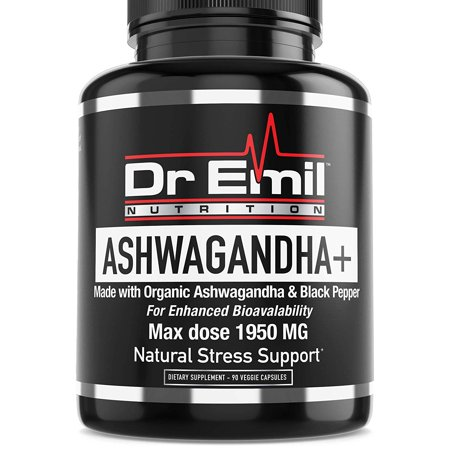 Dr. Emil ASHWAGANDHA+ Max Dose 1950mg Organic Ashwagandha Capsules w/Black Pepper for Absorption - Stress Relief, Mood Boost & Energy (90 Veggie caps)