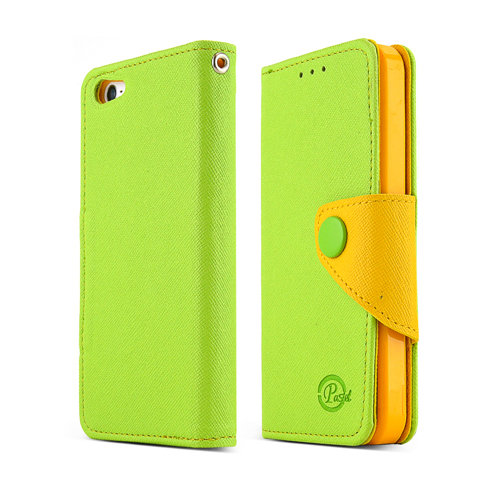 Made for Apple iPhone 5 / 5S Wallet Case [Lime Green / Yellow] in Premium [PU/Faux Leather] w/ Stand Feature and Magnetic Flap Closure; Functional Fashion Slim Wallet Case Cover by Redshield