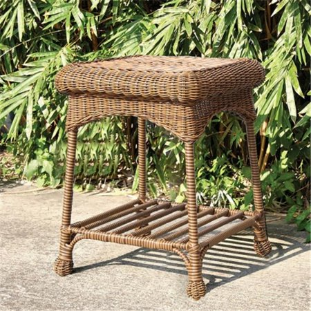 Espresso wicker patio end table for Outdoor furniture end tables