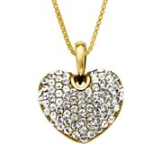 Heart Pendant Necklace with Swarovski Crystals in 18kt Gold-Plated Sterling Silver