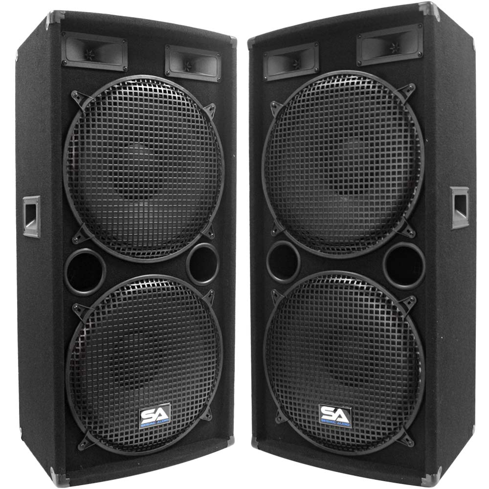 "Seismic Audio Pair Dual 15"" PA DJ SPEAKERS 1000 Watts PRO AUDIO ~ NEW - 155.2"