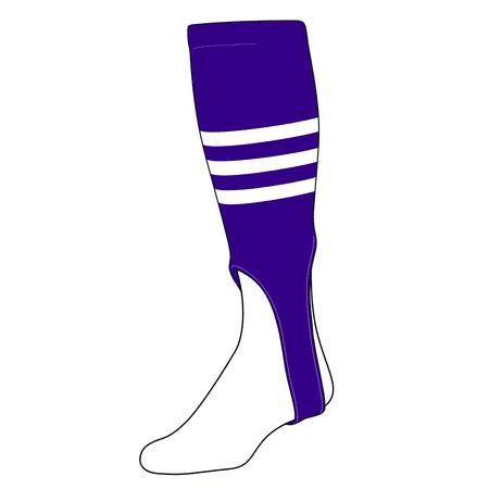 TCK Baseball Stirrups Medium (200B, 7in) Purple, White Purple Baseball Stirrup