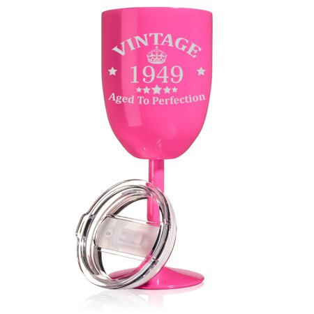 14 oz Double Wall Vacuum Insulated Stainless Steel Wine Tumbler Glass with Lid 70th Birthday Vintage Aged To Perfection 1949 (Hot Pink) - Halloween Vintage Tumblr