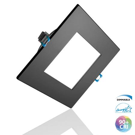 NICOR Lighting 6 inch Square Black Flat Panel LED Downlight in 3000K (DLE621203KSQBK) Black Flat Panel Series
