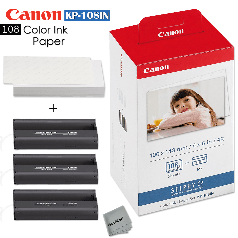 canon kp 108in color ink paper includes 108 ink paper sheets ink toners for canon selphy cp1200 selphy cp910 selphy cp900 cp770 and cp760 walmartcom - Canon Selphy Color Ink Paper Set