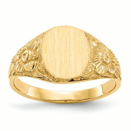 14K Yellow Gold 10 MM Flower Oval Engravable Signet Ring, Size 6