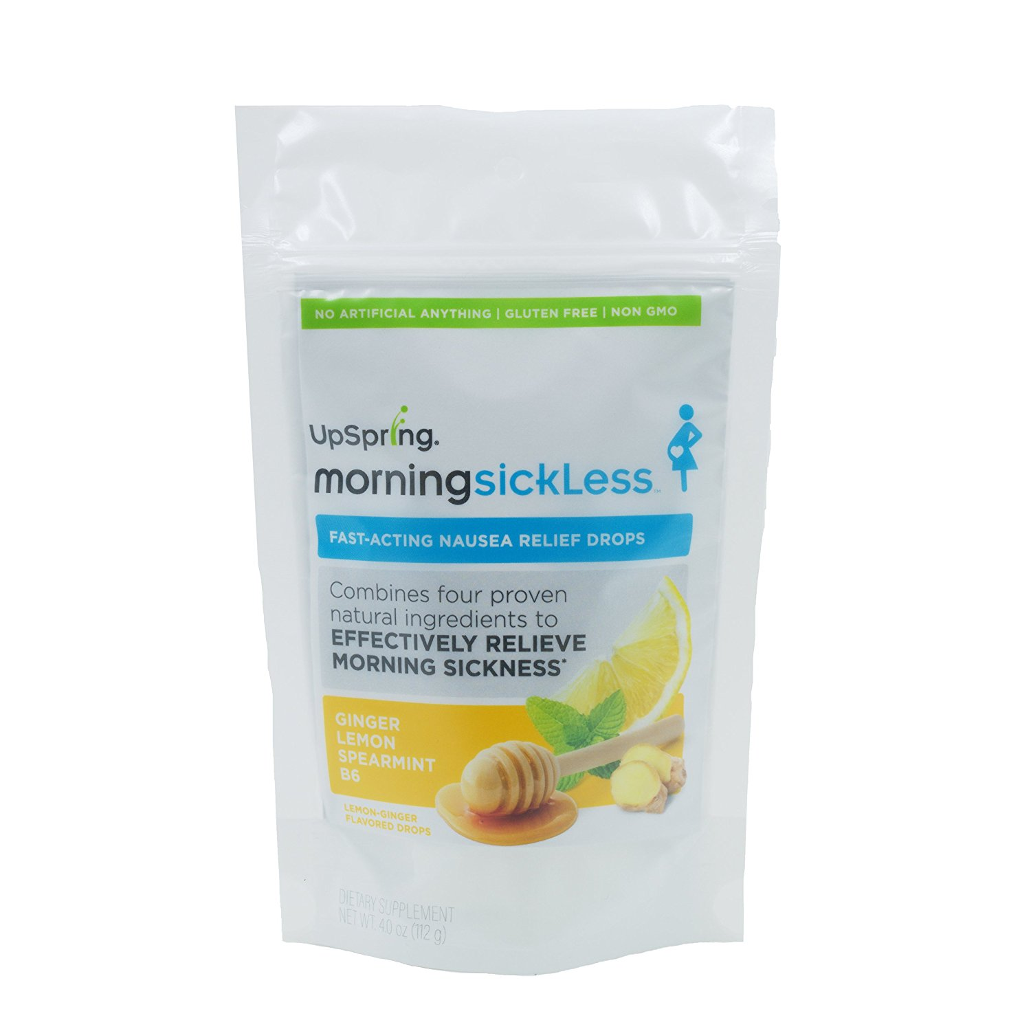 UpSpring Morning SickLess Nausea Relief Drops with B6, Ginger, Mint, for  Pregnancy Nausea Relief