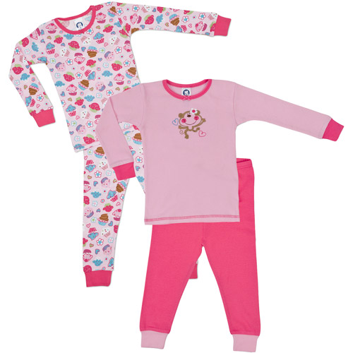 Gerber - Baby Girls' Cotton Pajamas, 4 Pack