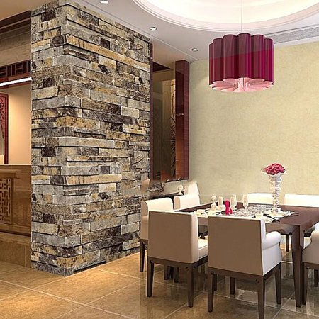 - 3D Effect Natural Embossed Retro Stack Stone Brick Tile Print Wall Paper Wallpaper HITC